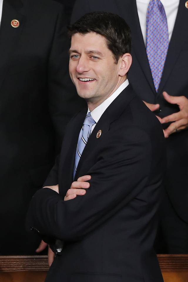 House Budget Committee Chairman Rep. Paul Ryan, R-Wis. arrives for President Barack Obama's State of the Union address during a joint session of Congress on Capitol Hill in Washington, Tuesday Feb. 12, 2013. (AP Photo/J. Scott Applewhite) ORG XMIT: CAP104