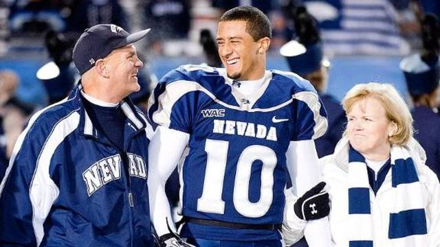 49ers quarterback Colin Kaepernick with his adoptive parents, Rick and Teresa, before one of his Nevada games in 2010.