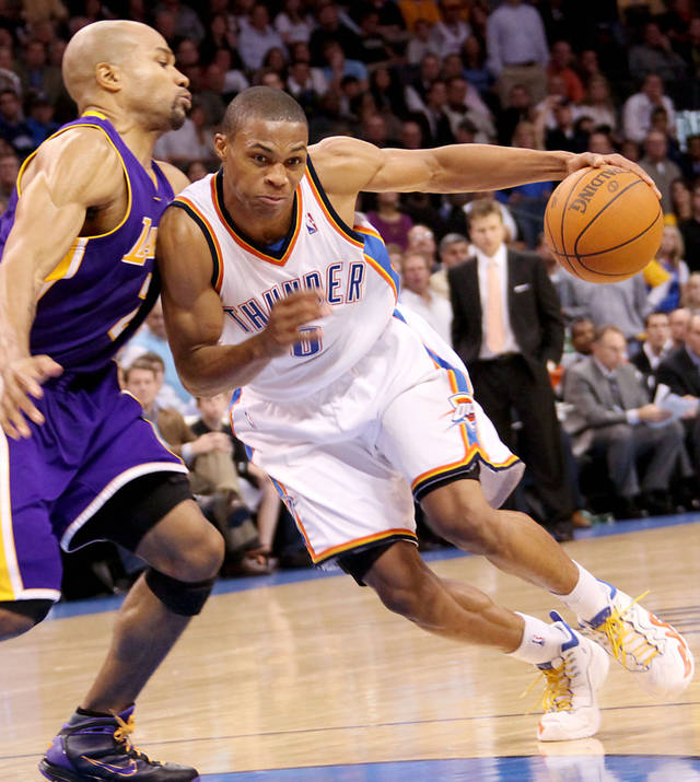 Watch how Los Angeles' Derek Fisher, left, handles Oklahoma City's Russell Westbrook. That could be a real key to how the Thunder do against the Lakers in this series. PHOTO BY JOHN CLANTON, THE OKLAHOMAN