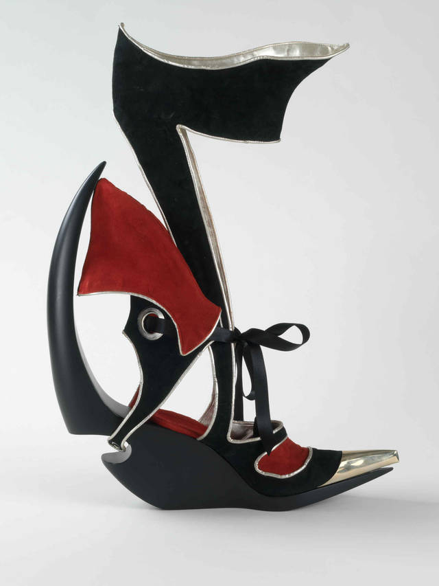 This 'sculptural shoe' attempts to capture the same sense of kinetic energy found in Wassily Kandinsky's 'Lithography for the fourth Bauhaus bag.' Fluid forms have been juxtaposed with angular structured lines. The softness of lamb nappa contrasts against the severity of metal and reflects the disparity of shapes within the image. (AP Photo/Bata Shoe Museum, Toronto) NO SALES   Copyrighted image MUST be credited: Copyright © 2009 Bata Shoe Museum, Toronto (Photo: Paterson Photographic) ORG XMIT: NYLS2