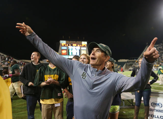 "Baylor coach Art Briles would be a ""perfect fit"" as Mack Brown's replacement at Texas, former OU coach Barry Switzer said. AP PHOTO"
