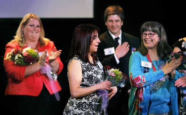 Heather Meldrum is announced Thursday as Oklahoma City Public Schools Teacher of the Year at Will Rogers Theatre in Oklahoma City.  Photo by Sarah Phipps, The Oklahoman