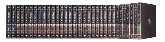 This undated product image provided by Encyclopaedia Britannica Inc. shows volumes of the company's encyclopedia. Encyclopaedia Britannica Inc. on Tuesday, March 13, 2012 said that it will stop publishing print editions of its flagship encyclopedia for the first time since the sets were originally published more than 200 years ago. (AP Photo/Encyclopaedia Britannica Inc.)