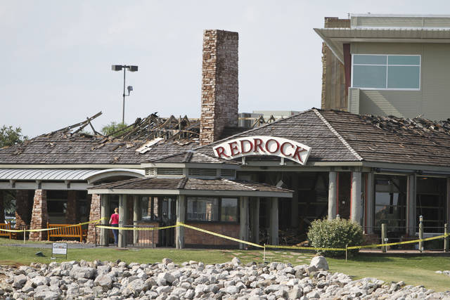Redrock Canyon Grill, 9221 Lake Hefner Parkway, was possibly hit by lightning early Wednesday morning in Oklahoma City, May  30, 2012. Firefighters arrived and found a small fire that quickly spread into the roof and a third alarm was sounded, Photo By Steve Gooch, The Oklahoman