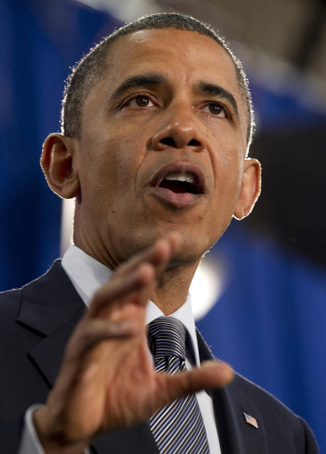 President Barack Obama speaks at Cuyahoga Community College in Cleveland, Thursday, June 14, 2012. (AP Photo/Carolyn Kaster)