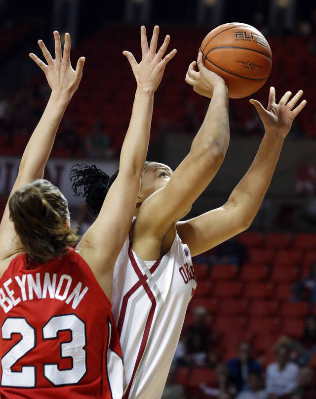 /touduring the women's college basketball game between the University of Oklahoma and Marist at Lloyd Noble Center in Norman, Okla.,  Sunday,Dec. 2, 2012. Photo by Sarah Phipps, The Oklahoman