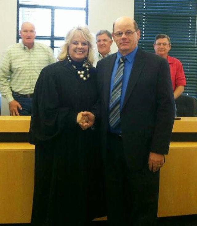 Special Judge Alicia Littlefield and newly-elected Sheriff Harlan Moore attended the Delaware County Commissioner�s meeting on Monday.  PHOTO PROVIDED
