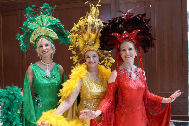 From the 2011 Oklahoma Senior Follies, Beauties Joy Richardson, Carol Sander and Jan Henry pose in their costumes, designed by Ashley Bellet. This year's Follies Beauties will be wearing dresses by Bellet, designed with an elemental theme. Photo by Heather Warlick, The Oklahoman <strong></strong>