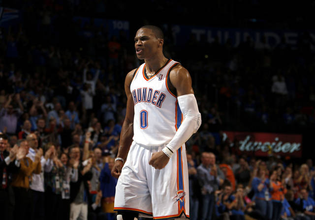 Oklahoma City's Russell Westbrook (0) celebrates a play during the NBA game between the Oklahoma City and the Utah Jazz and the Chesapeake Energy Arena, Friday,Nov. 30, 2012. Photo by Sarah Phipps, The Oklahoman