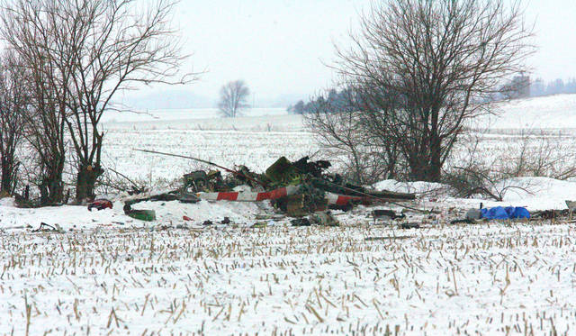 The charred wreckage of Mercy Medical Center-North Iowa's Air-Med helicopter lays along the edge of an old fence line two miles northwest of Ventura, Iowa Thursday morning, Jan. 3, 2013. Authorities have identified two of three people who were killed when the medical helicopter crashed Wednesday night, Jan. 2, 2013; nurse Shelly Lair-Langenbau and paramedic Russell Piehl., both of  Mercy Medical Center-North Iowa. The pilot was not identified. Witnesses told deputies that the helicopter burst into flames when it went down  just north of Ventura in Cerro Gordo County.  (AP photo,Jeff Heinz,Globe Gazette).