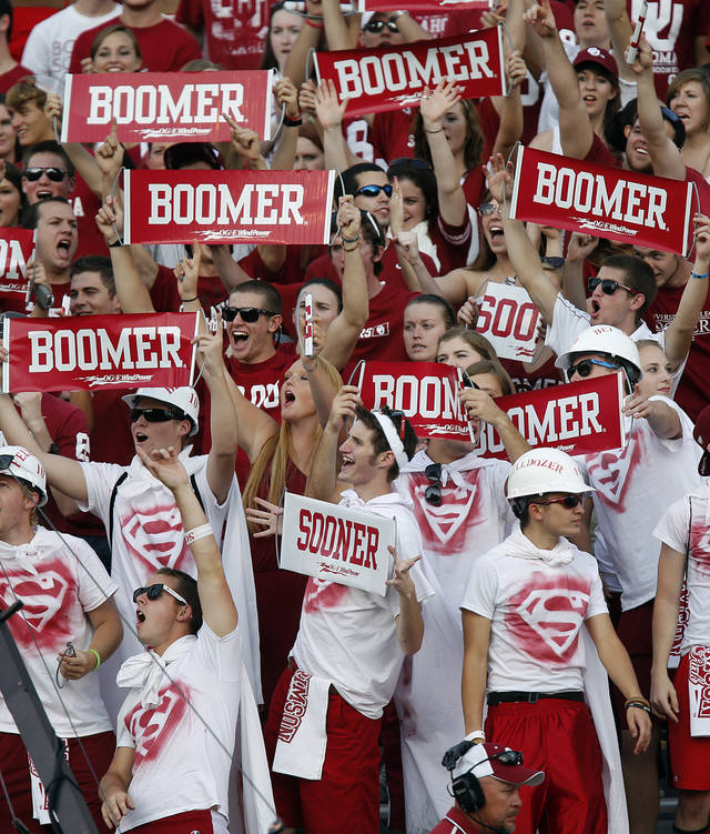 Sooner fans prepare for the game during the college football game between the University of Oklahoma Sooners (OU) and the Kansas State University Wildcats (KSU) at the Gaylord Family-Memorial Stadium on Saturday, Sept. 22, 2012, in Norman, Okla. Photo by Chris Landsberger, The Oklahoman