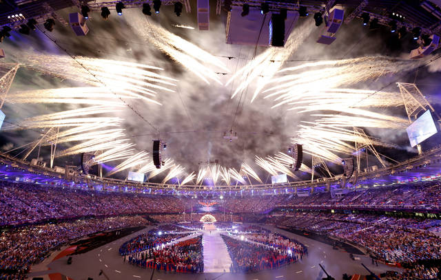 Fireworks explode during the Closing Ceremony at the 2012 Summer Olympics, Monday, Aug. 13, 2012, in London. AP photo