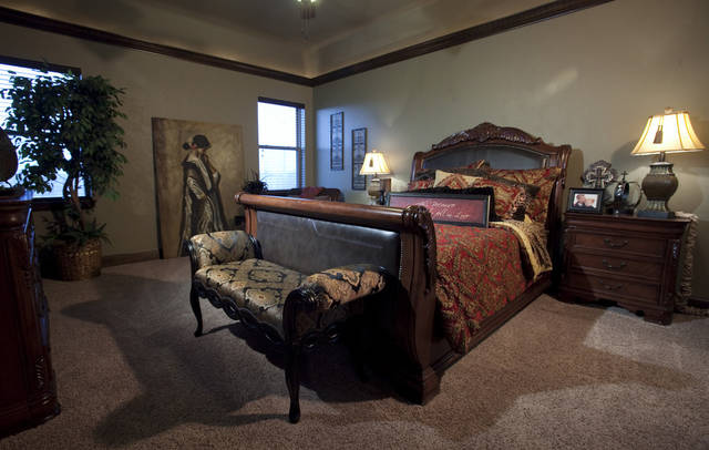 Landmark Fine Homes master bedroom featues recessed ceiling and molding in a model home at 4601 Kingsland Road on Thursday, March 8, 2012, in Norman, Okla.  Photo by Steve Sisney, The Oklahoman