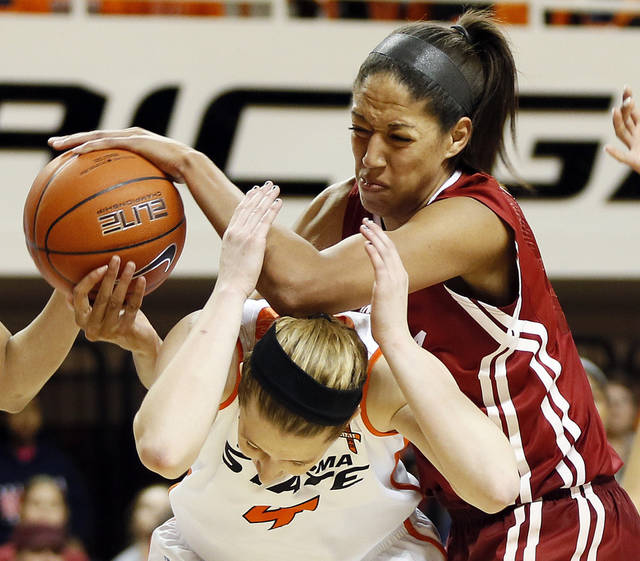 Oklahoma's Nicole Griffin (4), top, collides with Oklahoma State's Liz Donohoe (4) during the Bedlam women's college basketball game between Oklahoma State University and the University of Oklahoma at Gallagher-Iba Arena in Stillwater, Okla., Saturday, Feb. 23, 2013. OSU beat OU, 83-62. Photo by Nate Billings, The Oklahoman