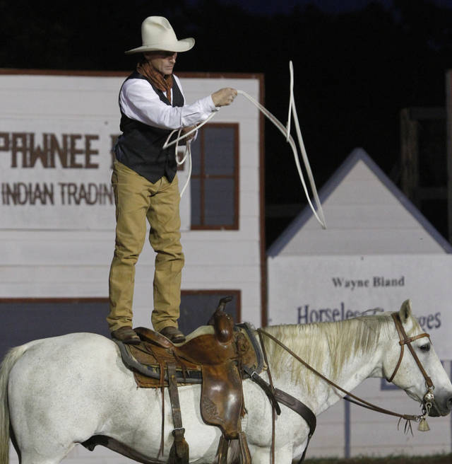 Trick roper Richard Heinrich entertains the crowd during the Pawnee Bill Wild West Show in Pawnee, Oklahoma on Saturday,  June 23, 2012.  Photo by Jim Beckel, The Oklahoman