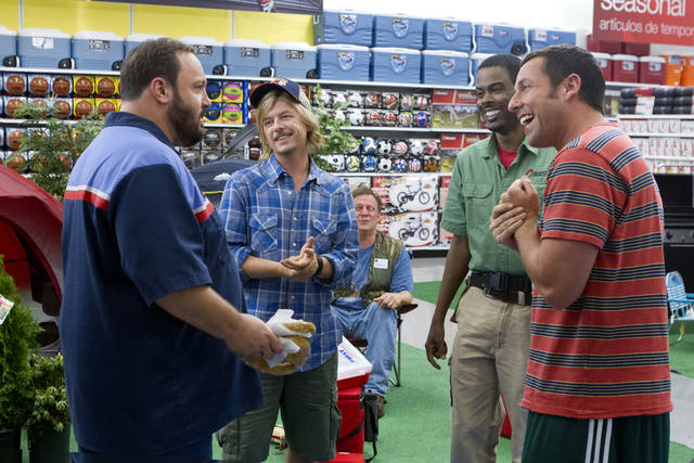 """This film publicity image released by Columbia Pictures shows, from left, Kevin James, David Spade, Jonathan Loughran, seated, Chris Rock, and Adam Sandler in a scene from """"Grown Ups 2."""" (AP Photo/Sony - Columbia Pictures, Tracy Bennett) ORG XMIT: NYET106"""