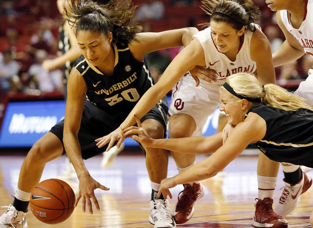 OU's Morgan Hook (10), upper right, and Vanderbilt's Elan Brown (30) and Heather Bowe (3) chase a loose ball in the second half during a women's college basketball game between the University of Oklahoma Sooners and the Vanderbilt Commodores at Lloyd Noble Center in Norman, Okla., Sunday, Dec. 16, 2012. Vanderbilt won, 76-63. Photo by Nate Billings, The Oklahoman