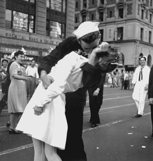 Among the photos in the National Archives' collection is this iconic one of New York City celebrating Japan's surrender in World War II, a photo taken on Aug. 14, 1945, by U.S. Navy Lt. Victor Jorgensen. PHOTO PROVIDED.  <strong>Lt. Victor Jorgensen</strong>