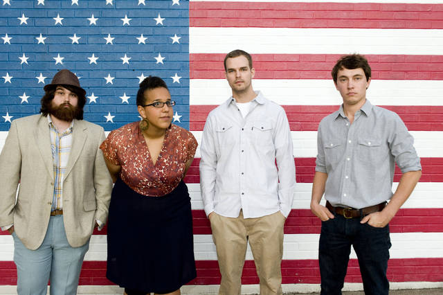 In this undated photo released by ATO Records, members of Alabama Shakes, from left, Zac Cockrell, Brittany Howard, Steve Johnson and Heath Fogg are shown. The live dynamos from north Alabama have been given a primo late-night set time Thursday, June 7, at the Bonnaroo Music & Arts Festival. (AP Photo/ATO Records, Don VanCleave)