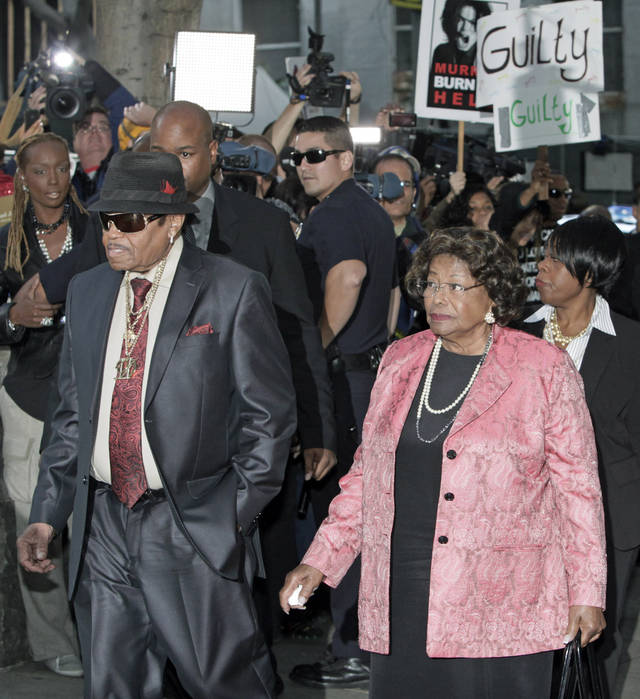Michael Jackson's parents Joe and Katherine Jackson arrive at the Criminal Justice Center in downtown Los Angeles Monday, Nov. 7, 2011 after it was announced that jurors had reached a verdict in the involuntary manslaughter trial of Dr. Conrad Murray, Michael Jackson's physician when the pop star died in 2009. AP photo
