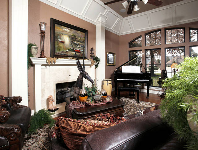 This view shows the living room in the Dinnes home, which has evolved and expanded as the Dinnes family has grown over the past 25 years.