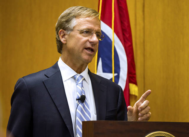 Gov. Bill Haslam gives reporters a preview to his annual State of the State address in Nashville, Tenn., on Monday, Jan. 28, 2013. The Republican governor said the speech would not include a decision on whether Tennessee should expand Medicaid eligibility under the new federal health care law. (AP Photo/Erik Schelzig)