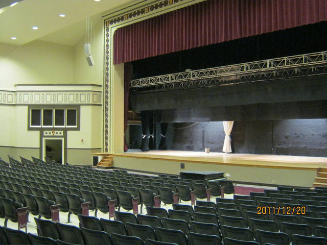 The renovated auditorium at Capitol Hill High  School is a completed MAPS for Kids project. Crews discovered decorative pieces when they began the renovation, and officials decided to use them in the new design. Photo Provided