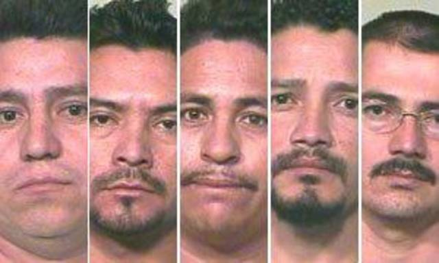 Left to right: Miguel Arrellano-Barrieientios, 27, Jose Arellano-Meza, 32, Carlos Barrientos, 36, Carlos Perez, 29, and Santiago Serano-Rameriz, 38.