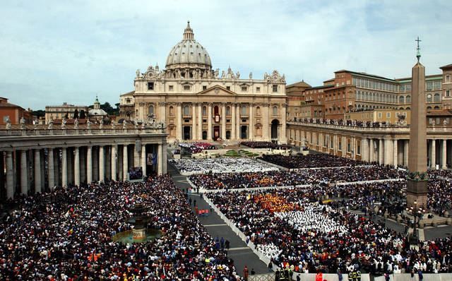 FILE - This April 24, 2005 file photo shows thousands of people attending the installment Mass of Pope Benedict XVI in St. Peter's Square, at the Vatican. Pope Benedict XVI announced Monday, Feb. 11, 2013 that he would resign on Feb. 28 because he was simply too infirm to carry on � the first pontiff to do so in nearly 600 years. The decision sets the stage for a conclave to elect a new pope before the end of March. (AP Photo/Gregorio Borgia, files)