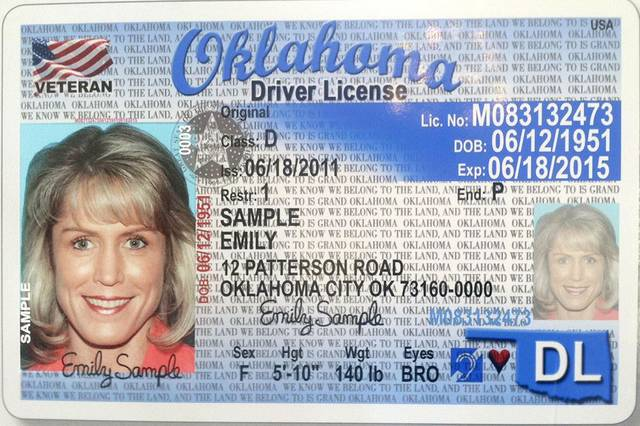 Left: A sample of the new Oklahoma driver�s license for veterans is shown.  PHOTO PROVIDED