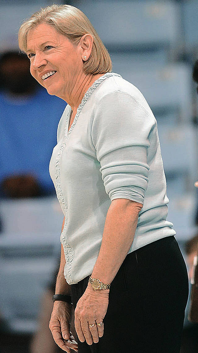 North Carolina coach Sylvia Hatchell smiles during an NCAA college basketball game against Florida State on Thursday, Jan. 31, 2013, in Chapel Hill, N.C. (AP Photo/The Herald-Sun, Bernard Thomas)