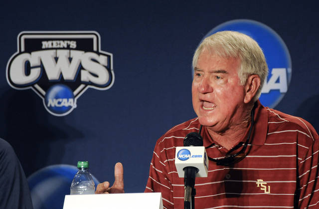 Florida State coach Mike Martin speaks during the coaches news conference at TD Ameritrade Park in Omaha, Neb., Thursday, June 14, 2012. Florida State will play against Arizona on Friday in an NCAA College World Series baseball game. (AP Photo/Eric Francis)