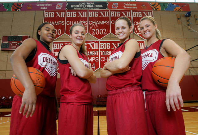 Oklahoma women's basketball players, from left, Jasmine Hartman, Jenny Vining, Whitney Hand and Lauren Willis pose for a photo in January 2009. PHOTO BY STEVE GOOCH, The Oklahoman Archives
