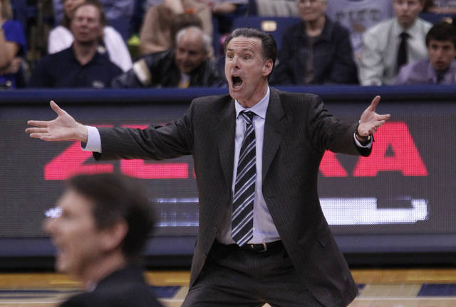 Pittsburgh head coach Jamie Dixon reacts to a technical foul call against his team with less than 30 seconds left in the second half of Game 2 of the College Basketball Invitational tournament best-of-three championship series against Washington State, Wednesday, March 28, 2012, in Pittsburgh. Pittsburgh won 57-53, forcing a deciding Game 3 in Pittsburgh on Friday. (AP Photo/Keith Srakocic)