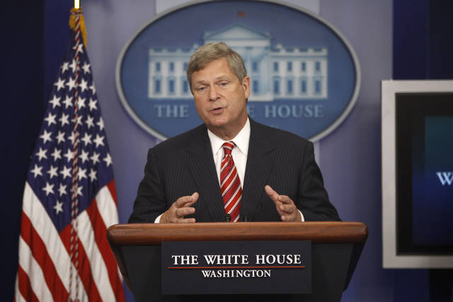 "FILE - In this July 18, 2012, file photo, Agriculture Secretary Tom Vilsack talks about the drought during a press briefing at the White House in Washington. Vilsack has some harsh words for rural America: It's ""becoming less and less relevant,"" he says. A month after an election that Democrats won even as rural parts of the country voted overwhelmingly Republican, the former Democratic governor of Iowa told farm belt leaders this past week that he's frustrated with their internecine squabbles and says they need to be more strategic in picking their political fights. ""It's time for us to have an adult conversation with folks in rural America,"" Vilsack said in a speech at a forum sponsored by the Farm Journal. ""It's time for a different thought process here, in my view."" He said rural America's biggest assets � the food supply, recreational areas and energy, for example � can be overlooked by people elsewhere as the U.S. population shifts more to cities, their suburbs and exurbs. (AP Photo/Charles Dharapak, File)"