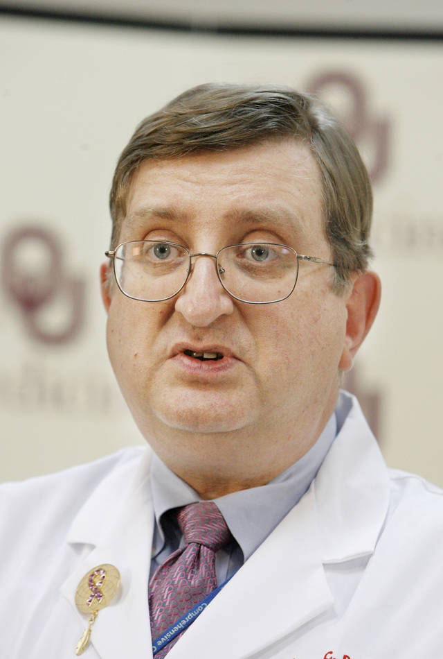 Dr. William Dooley, OU Cancer Institute Researcher, speaking at a press conference on the use of heat treatment with chemotherapy to kill large breast tumors in Oklahoma City Friday, Jan. 15, 2010. Photo by Paul B. Southerland, The Oklahoman