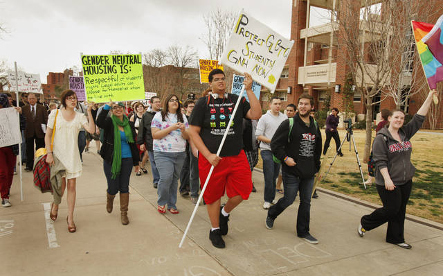 Students protest in favor of gender neutral housing on the campus of the University of Oklahoma on Wednesday, March 7, 2012, in Norman, Okla.  Photo by Steve Sisney, The Oklahoman