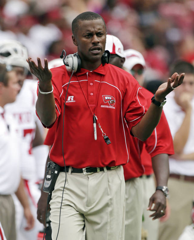 Western Kentucky Coach Willie Taggart reacts after a score by Alabama in the first half of an NCAA college football game at Bryant Denny Stadium in Tuscaloosa, Ala., Saturday, Sept. 8, 2012. (AP Photo/Dave Martin)