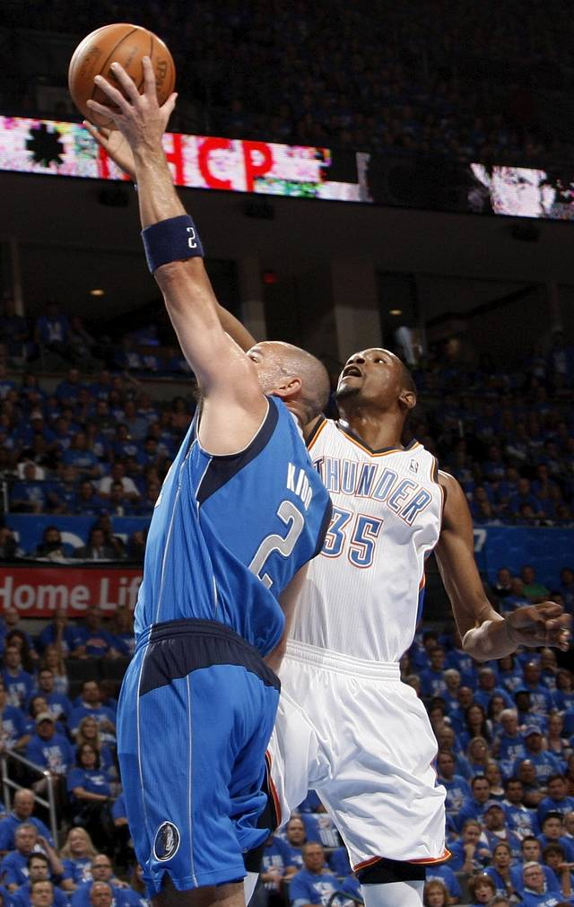 Oklahoma City's Kevin Durant (35) blocks the shot of Dallas' Jason Kidd (2) during game one of the first round in the NBA playoffs between the Oklahoma City Thunder and the Dallas Mavericks at Chesapeake Energy Arena in Oklahoma City, Saturday, April 28, 2012. Photo by Nate Billings, The Oklahoman