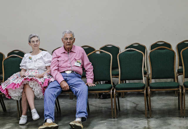 Cleva and George Roth take a break from the dancing action during the Square Dance Convention at the Cox Convention Center on Thursday, June 27, 2013, in Oklahoma City, Okla.Photo by Chris Landsberger, The Oklahoman
