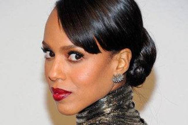 Kerry Washington wears a deep shade of red lipstick. AP Photo. <strong></strong>