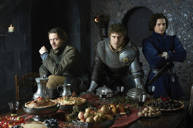 From left to right David Oakes a George, Duke of Clarence, Max Irons as King Edward IV, Aneurin Barnard as Richard, Duke of Gloucester in STARZ ³The White Queen.² Photographer: Lorenzo Agius Copyright: © 2013 Starz Entertainment, LLC.