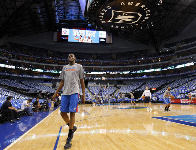 Oklahoma City's Kevin Durant warms up before game 2 of the Western Conference Finals in the NBA basketball playoffs between the Dallas Mavericks and the Oklahoma City Thunder at American Airlines Center in Dallas, Thursday, May 19, 2011. Photo by Bryan Terry, The Oklahoman