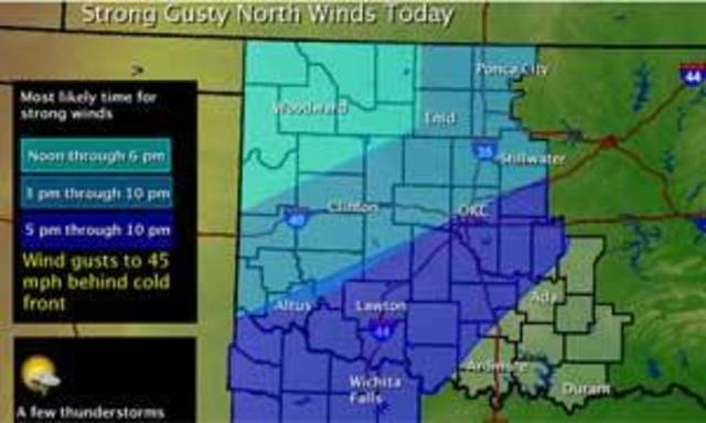 Map provided by the National Weather Service - Norman