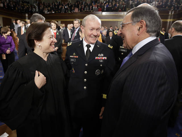 From left, Supreme Court Justice Elena Kagan, Joint Chiefs Chairman Gen. Martin Dempsey and outgoing Defense Secretary Leon Panetta talk prior to President Barack Obama's State of the Union address during a joint session of Congress on Capitol Hill in Washington, Tuesday Feb. 12, 2013. (AP Photo/Charles Dharapak, Pool) ORG XMIT: CAP508