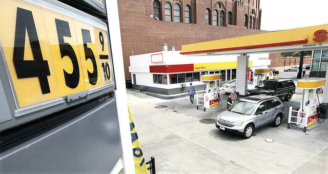 Premium gas at a station is selling at $4.55 per gallon at a north side station Monday in Chicago.  AP Photo