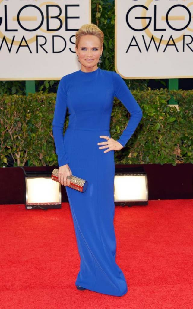Kristin Chenoweth, arrives at the 71st annual Golden Globe Awards at the Beverly Hilton Hotel on Sunday, Jan. 12, 2014, in Beverly Hills, Calif. (AP photo)