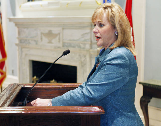 Governor Mary Fallin speaks during a pinning ceremony for Brigadier General Walter Fountain at the state Capitol in Oklahoma City, OK, Friday, Dec. 2, 2011. By Paul Hellstern, The Oklahoman