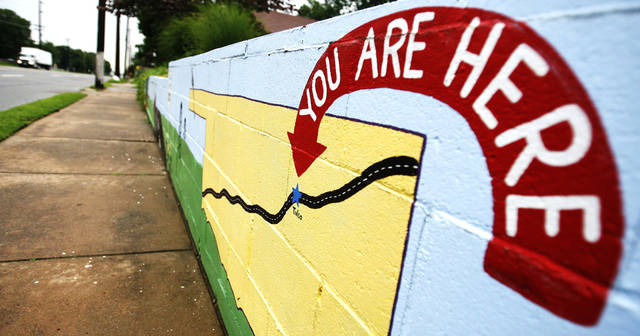 A map painted on a wall next to Route 66 in the Red Fork area of Tulsa, Okla., on Wednesday, June 20, 2007. By James Plumlee, The Oklahoman.