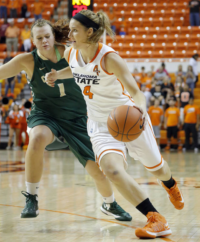 Oklahoma State's Liz Donohoe (4) tries to get around Cal Poly's Kayla Griffin (1) during the women's college basketball game between Oklahoma State and Cal Poly at  Gallagher-Iba Arena in Stillwater, Okla., Friday, Nov. 9, 2012. Photo by Sarah Phipps, The Oklahoman